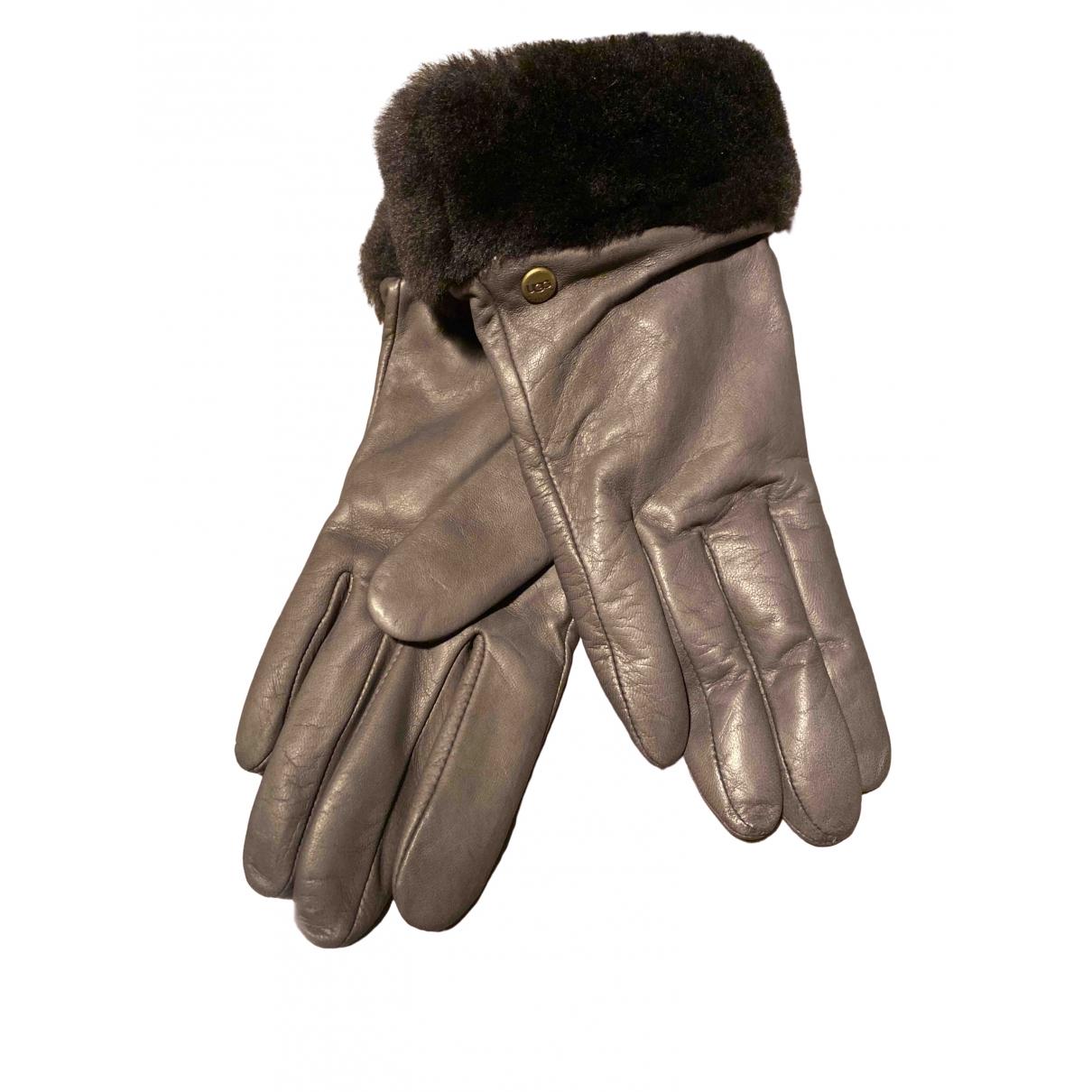 Ugg N Brown Leather Gloves for Women M International