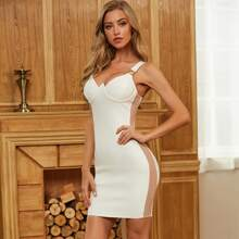 Sesidy Bandage Kleid mit Netzstoff