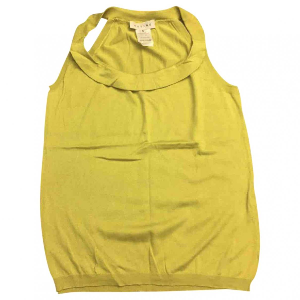 Celine - Top   pour femme en soie - jaune
