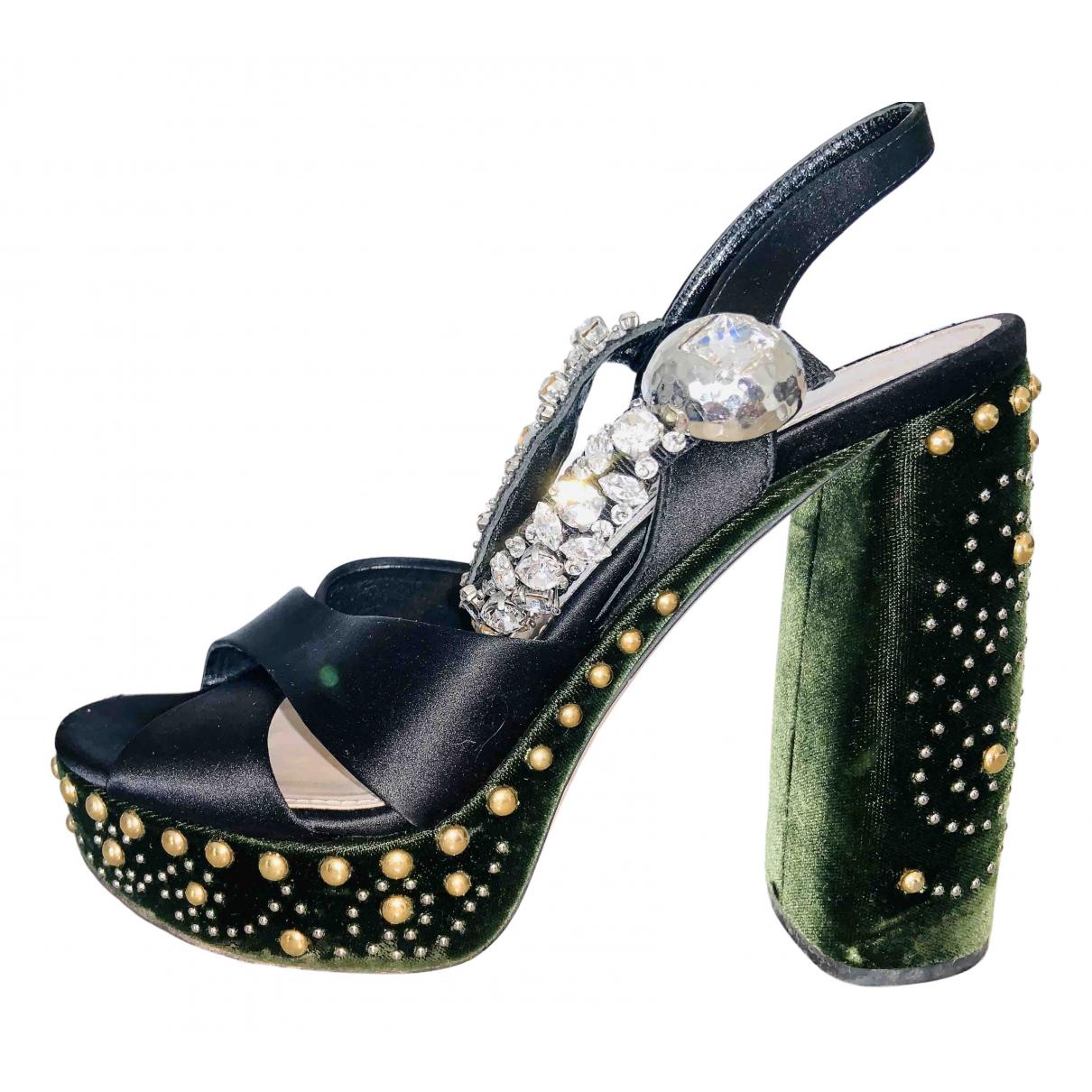 Miu Miu N Black Cloth Sandals for Women 36.5 EU