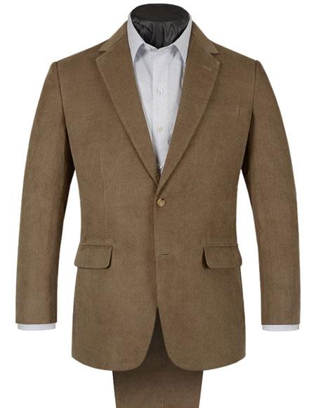 Mens 2 Buttons Single Corduroy Beige Suit Single Pleated Trouser