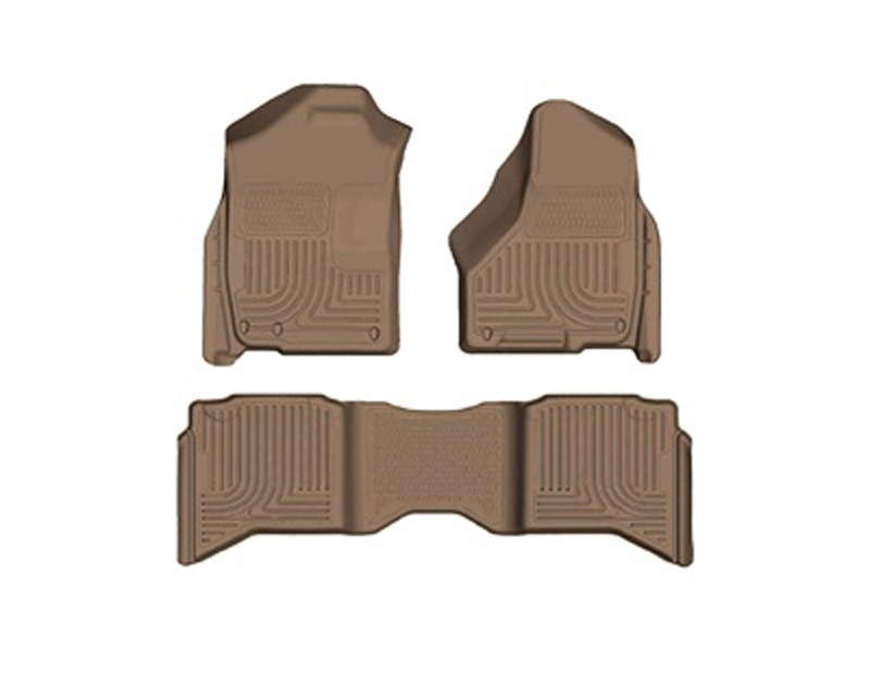 Husky Floor Liners Front & 2nd Row 09-14 Dodge Ram Quad Cab (Footwell Coverage) WeatherBeater-Tan