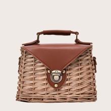 Braided Push Lock Satchel Bag