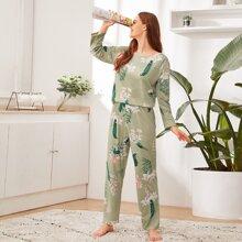 Schlafanzug Set mit Blumen & Blatt Muster
