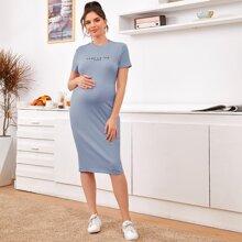 Umstandsmode Strick Kleid mit Buchstaben Grafik