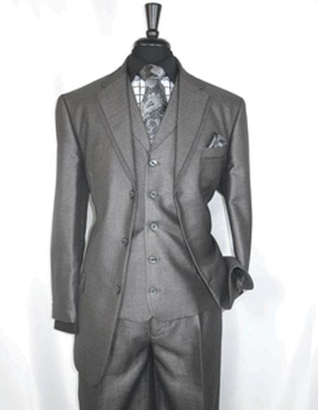 Men's Single Breasted Notch Lapel 3 Button Sharkskin Grey Suit