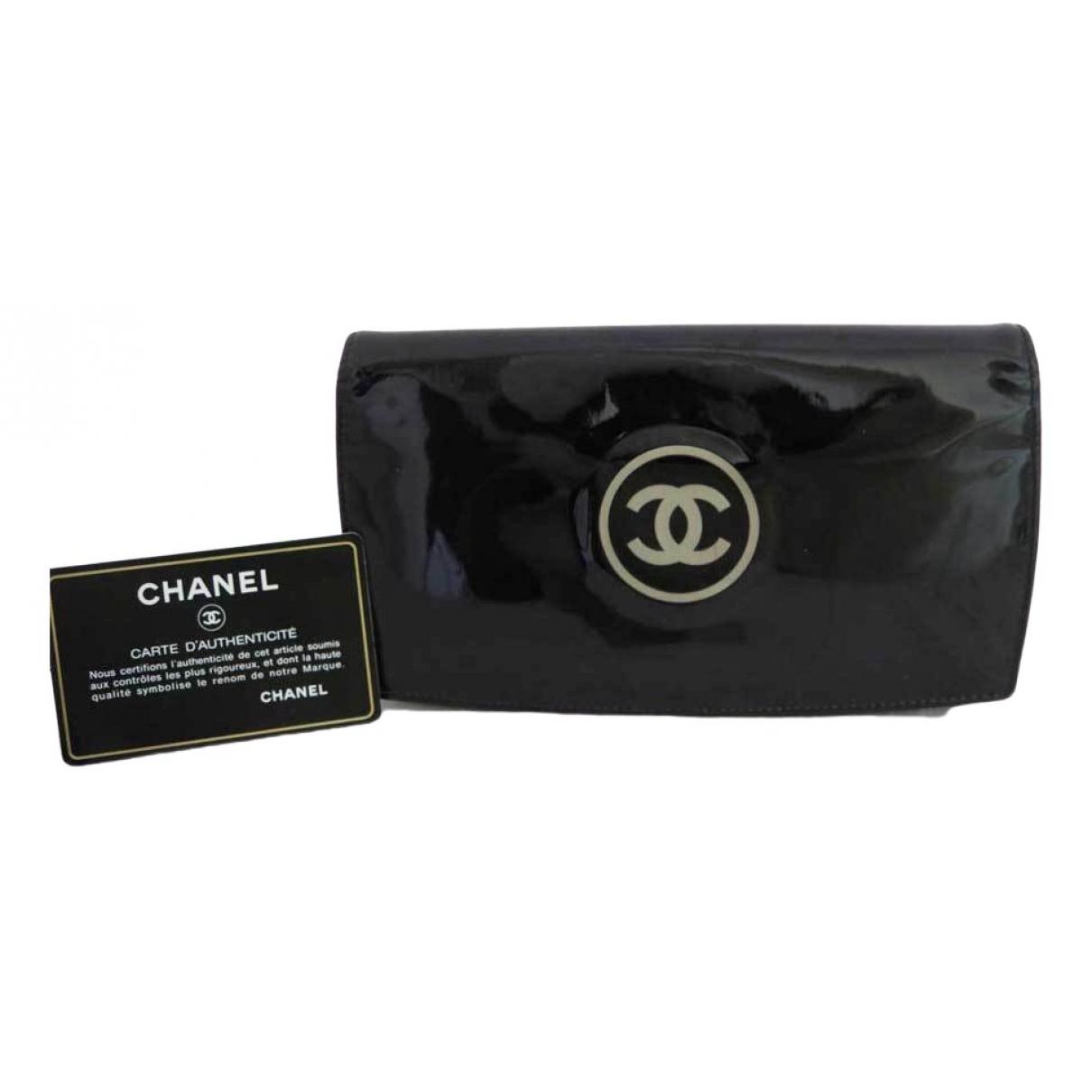 Chanel - Portefeuille   pour femme en cuir verni - noir