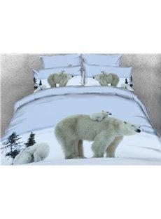 Polar Bear Mother Carries Cub Printed 4-Piece 3D Bedding Sets/Duvet Covers