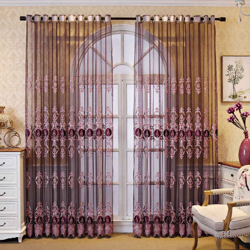 Luxury Elegant Purple Embroidered Custom Living Room Sheer Curtains Breathable Voile Drapes No Pilling No Fading No off-lining