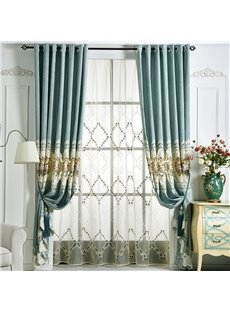 Elegant Modern Style Soft Delicate Texture Embroidered Custom Sheer Curtains