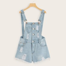 Plus Ripped Button Front Denim Overalls