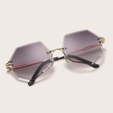 Guys Polygon Frame Rimless Sunglasses