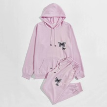 Men Butterfly Print Drawstring Hoodie And Sweatpants
