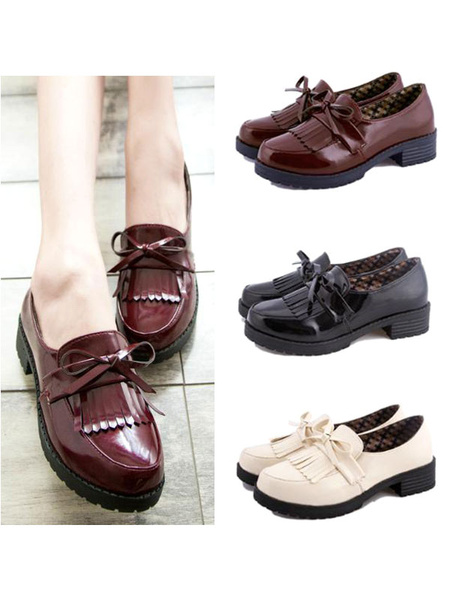 Milanoo Girls Fringed Leather Cosplay Shoes  Halloween
