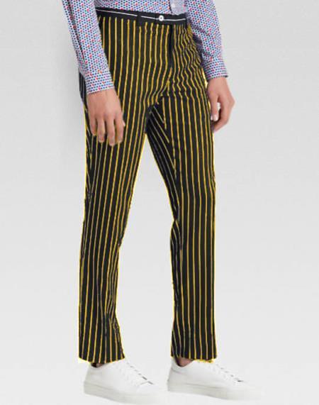 Mens Slacks Black Ganagster Chalk Striped Slim Fit Suit