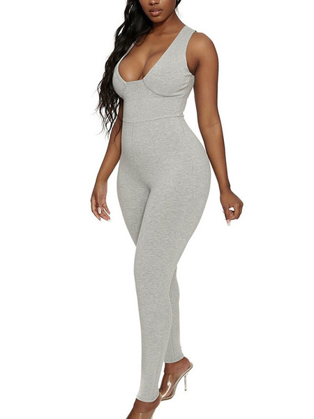 Milanoo Women\'s Black Straps Neck Sleeveless Polyester Cotton Skinny Summer One Piece Outfit Jumpsuits