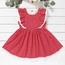 Kleinkind Maedchen A Linie Kleid mit Punkten Muster und Raffung
