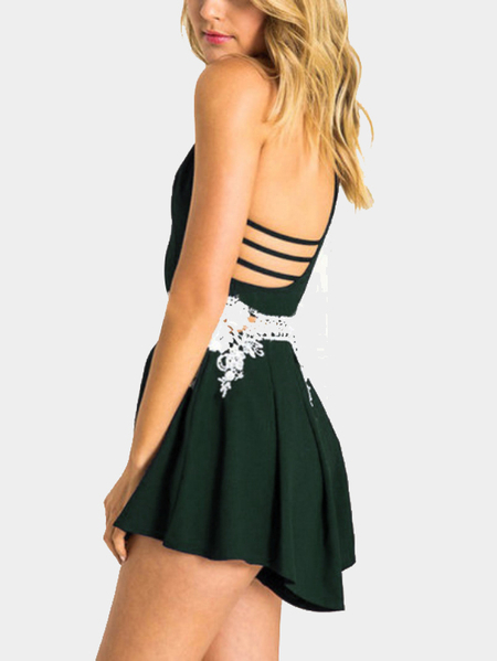 Yoins Atrovirens Cami Playsuit with Lace Insert