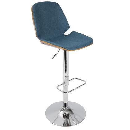 BS-SER WL+BU Serena Mid-Century Modern Barstool in Blue Fabric and Walnut