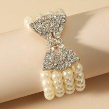 Brazalete con cuenta con diamante de imitacion