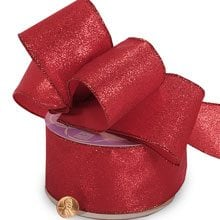 Glitter Sparkle Red Metallic Wired Ribbon - 2-1/2 X 10 Yards - Fabric Cloth by Paper Mart
