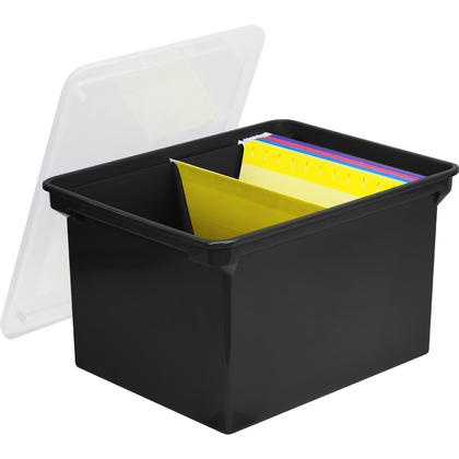 Storex® Boîte de rangement en plastique, 18 x 14 x 11-1/2 - Noir