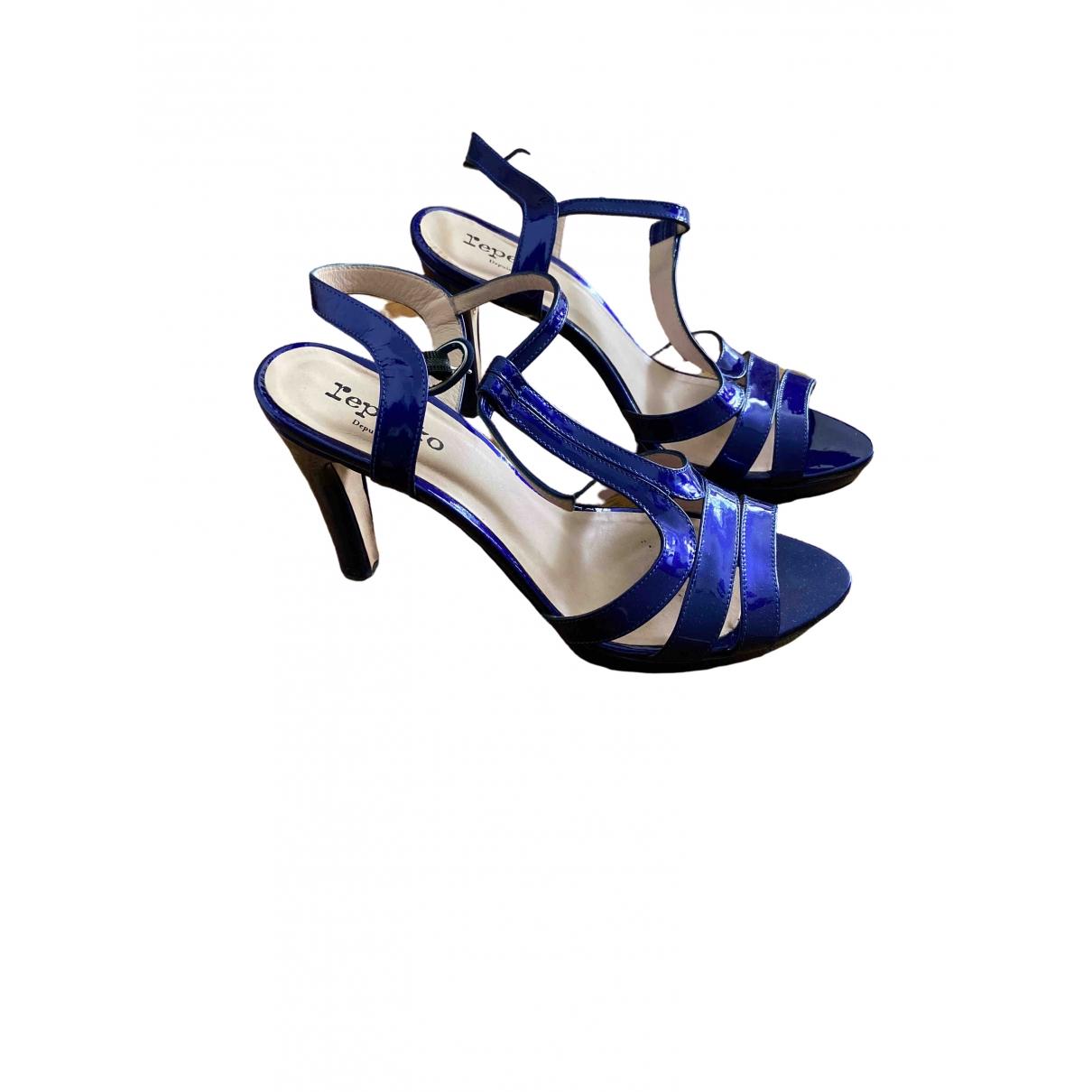 Repetto - Sandales   pour femme en cuir verni - bleu