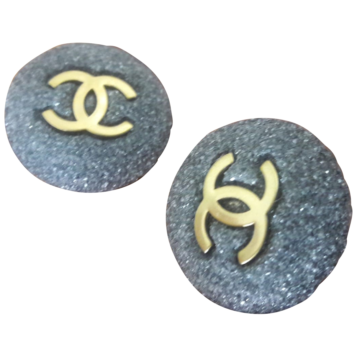 Chanel CC OhrRing in  Anthrazit Metall