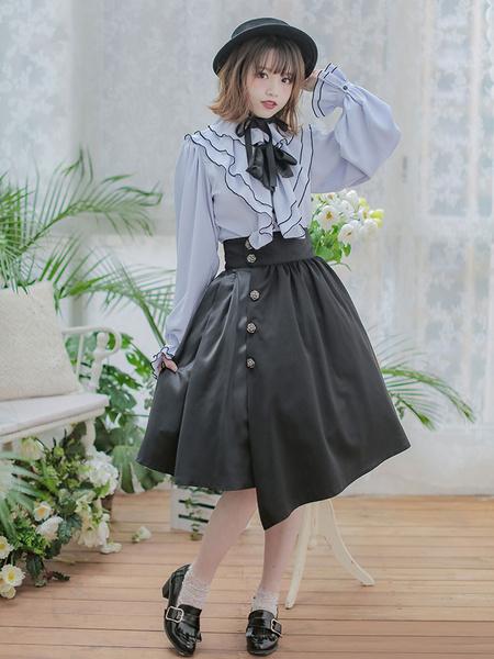 Milanoo Vestido Classsic Lolita OP Vestido de una pieza con dobladillo irregular de manga larga