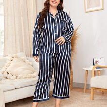 Satin Schlafanzug Set mit Streifen und Knopfen vorn