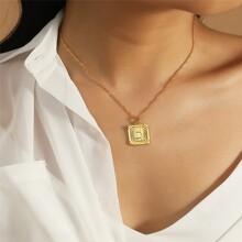 Letter Pattern Rectangle Metal Pendant Necklace