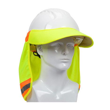 PIP EZ-Cool Hard Hat Visor, Elastic Back, Reflective Tape, Hi Vis Ylw