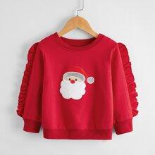 Toddler Girls Christmas Embroidery Ruffle Trim Sweatshirt
