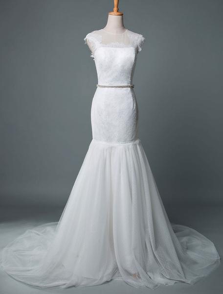 Milanoo Wedding Dress Mermaid Jewel Neck Sleeveless Court Train Polka Dot Tulle Bridal Dresses
