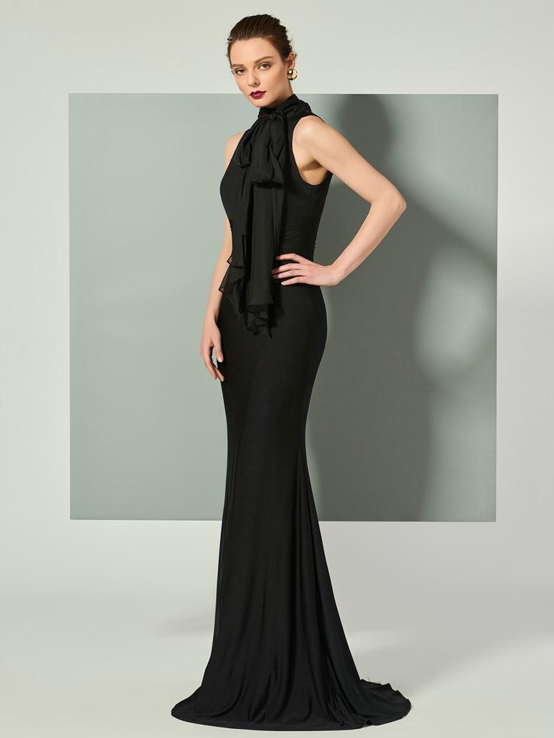Ericdress High Neck Sleeveless Mermaid Evening Dress With Bowknot
