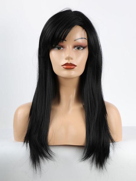 Milanoo Human Hair Wigs For Women Black Mixed-hair Layered Casual Long Human Hair Wigs