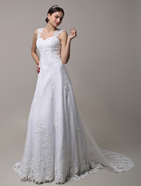 Milanoo Wedding Dresses Lace Slim A Line Straps Bridal Dress With Veil