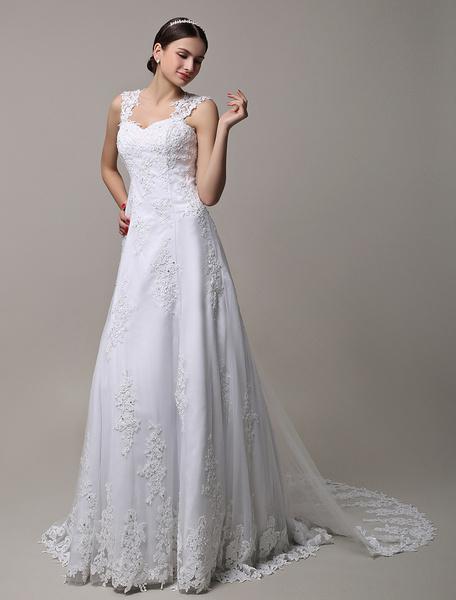 Milanoo Vestido de novia con escote diseñado y cuentas de cola desmontable