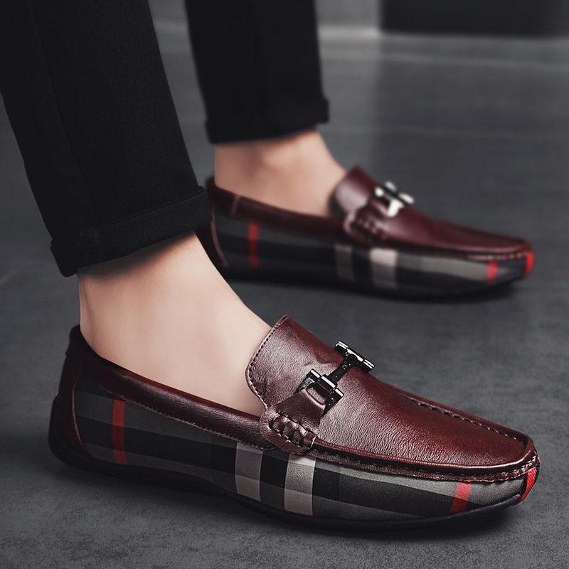Ericdress Plaid Slip-On Round Toe Men's Shoes