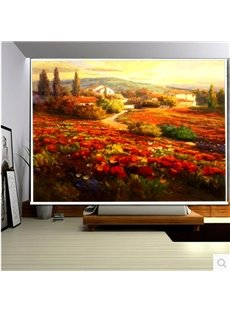 3D Red Rose and Small Villages Printed Natural Style Decoration Curtain Roller Shade
