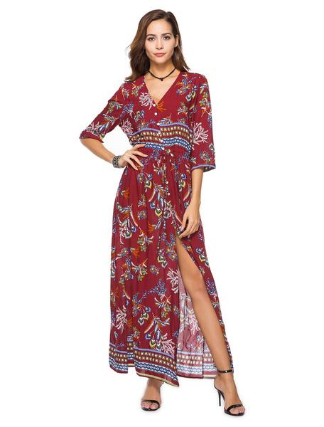 Milanoo Boho Long Dress V Neck Printed Split Three Quarter Sleeve Beach Summer Maxi Dress For Women