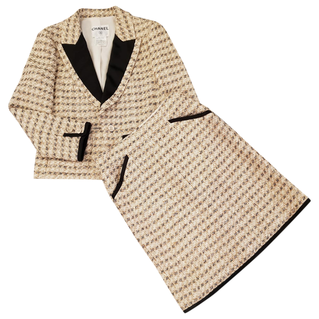 Chanel \N Jacke in  Beige Tweed