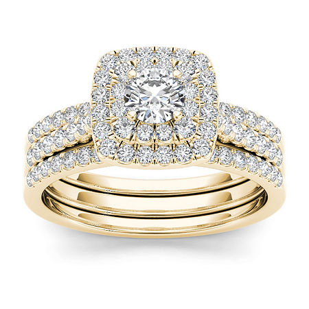 1 CT. T.W. Diamond 10K Yellow Gold Halo Bridal 3-piece Ring Set, 6 , No Color Family