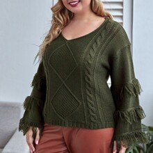 Plus Fringe Trim Cable Knit Sweater