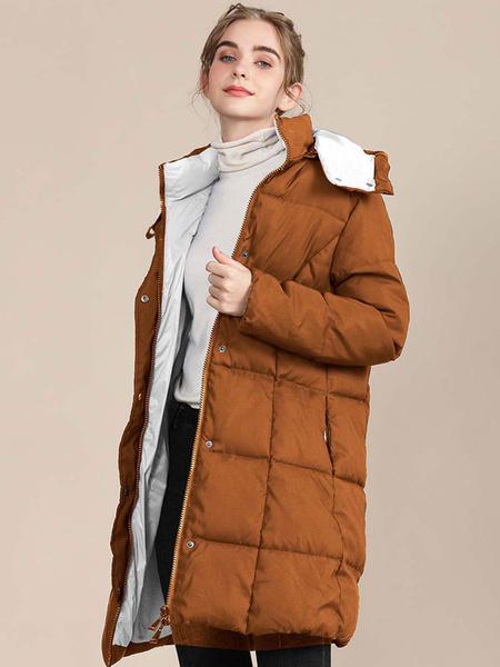 Milanoo Women Puffer Coats Black Warmth Hooded Zipper Long Sleeves Color Block Longline Winter Coat