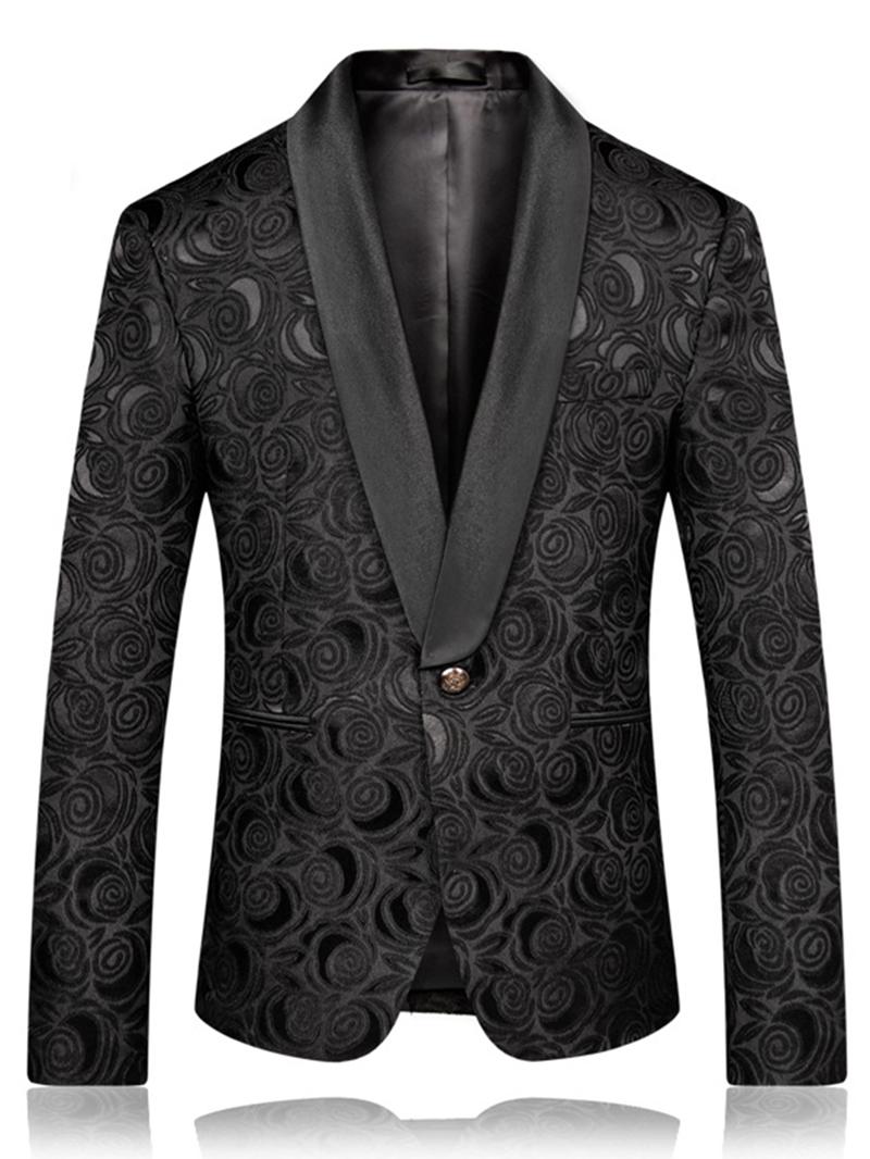 Ericdress Black Printed Slim Fit Mens Wedding Ball Blazer