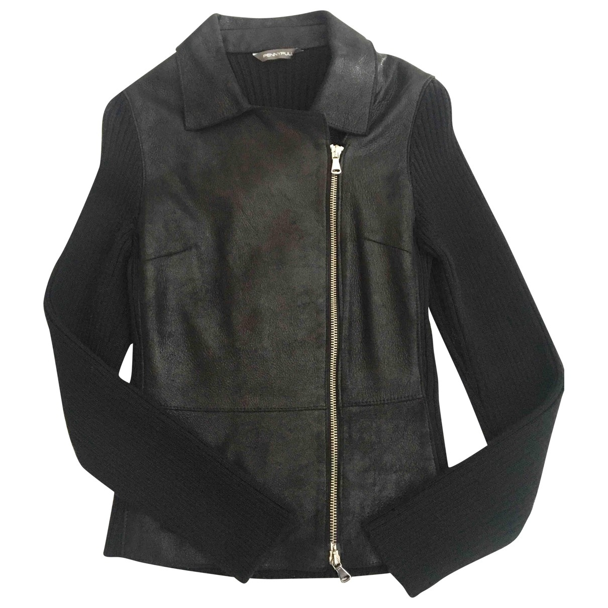 Non Signé / Unsigned \N Black Wool Leather jacket for Women M International