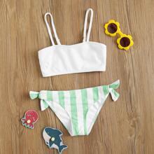 Maedchen Gerippter Bikini Badeanzug mit Streifen und seitlichem Band