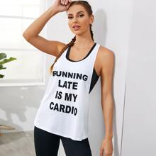 Slogan Graphic Racer Back Sports Tank Top Without Bra