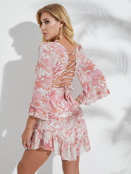 YOINS Pink Print Backless Criss-cross Ruffle Trim V-neck Bell Sleeves Dress